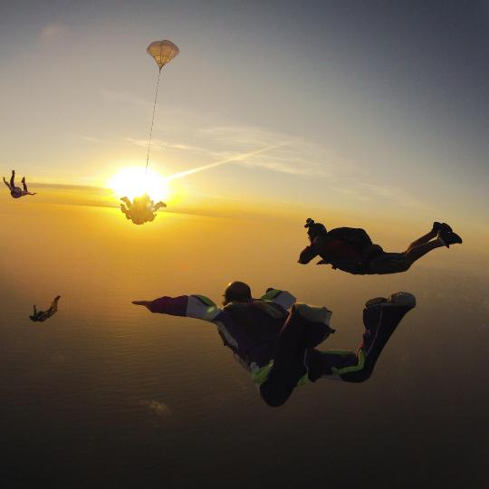 Skydive over the beach