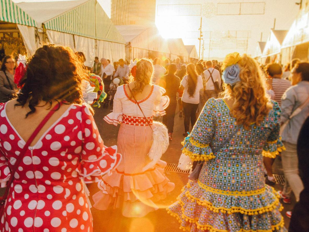 Traditionally dressed revellers during the Seville Fair