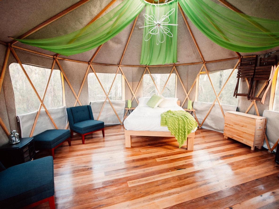 Yurts come with hot tubs at Talo Retreat, Victoria