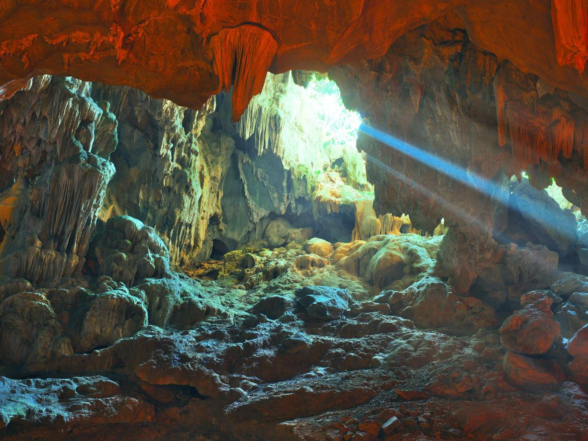 Halong Bay is home to a network of enormous caves