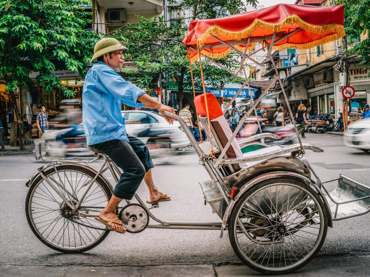 A cyclo on the streets of Hanoi in Vietnam