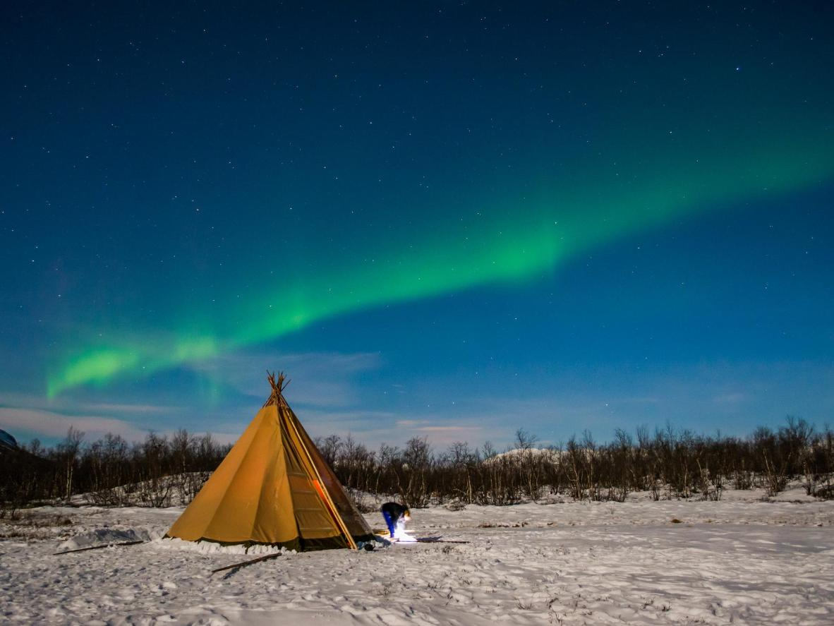 Abisko's geography makes it great for spotting the Northern Lights