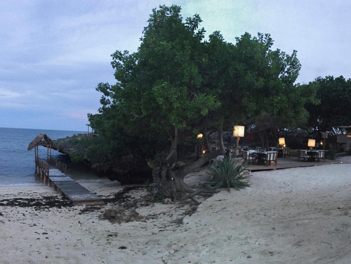 Cenetta all'aperto sulla spiaggia in Kenya