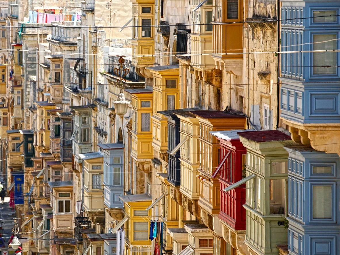Colourful balconies in the Maltese city of Valletta