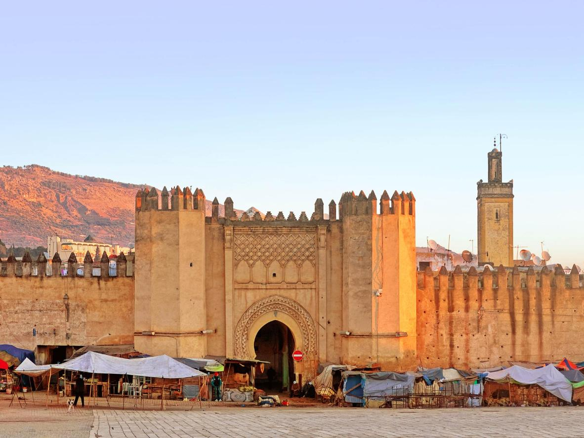 The gates to the ancient medina in Fez, Morocco