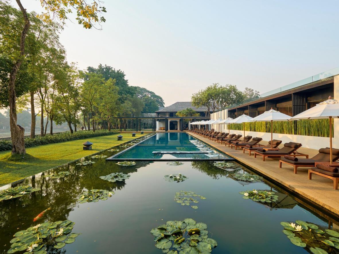 Infinity pool and its bordering lilypad pond at the Anantara Resort