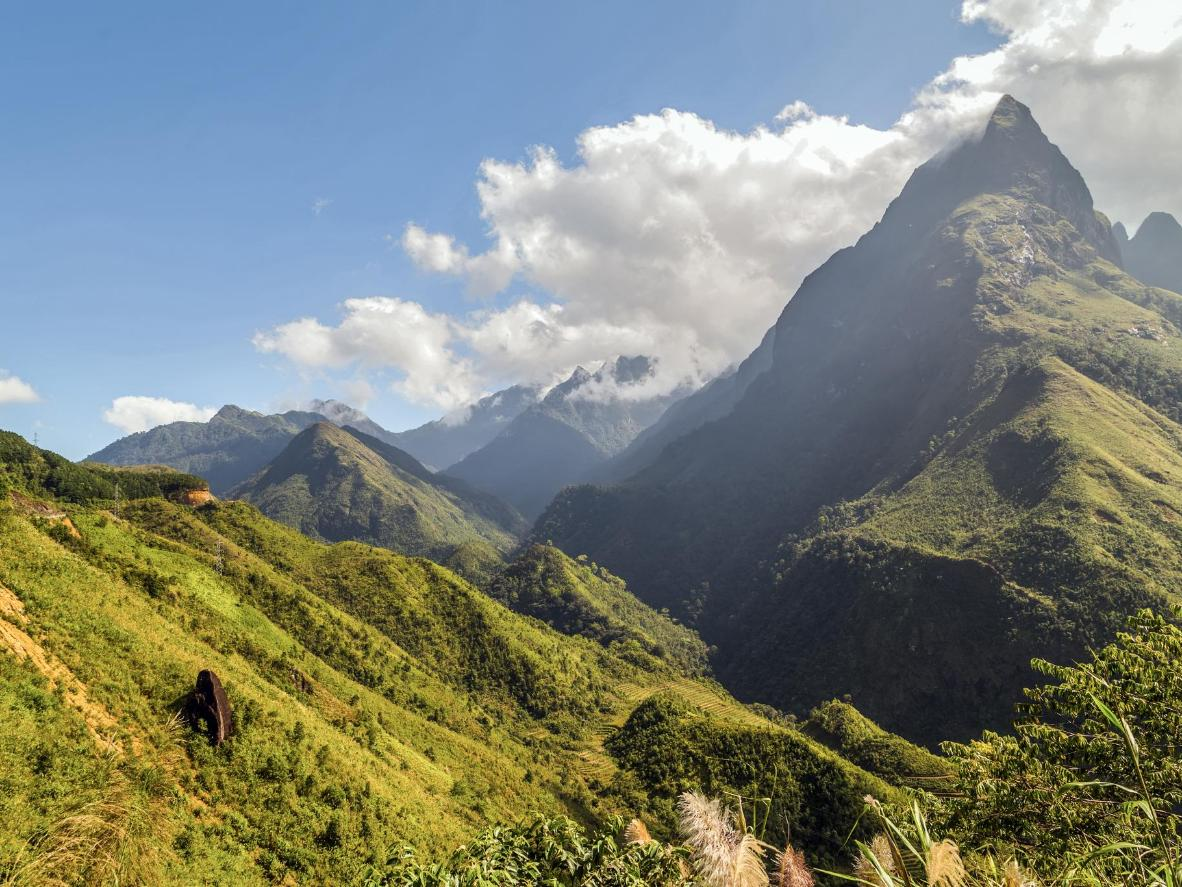 Mount Fansipan, the highest peak in Vietnam, overlooks Sa Pa