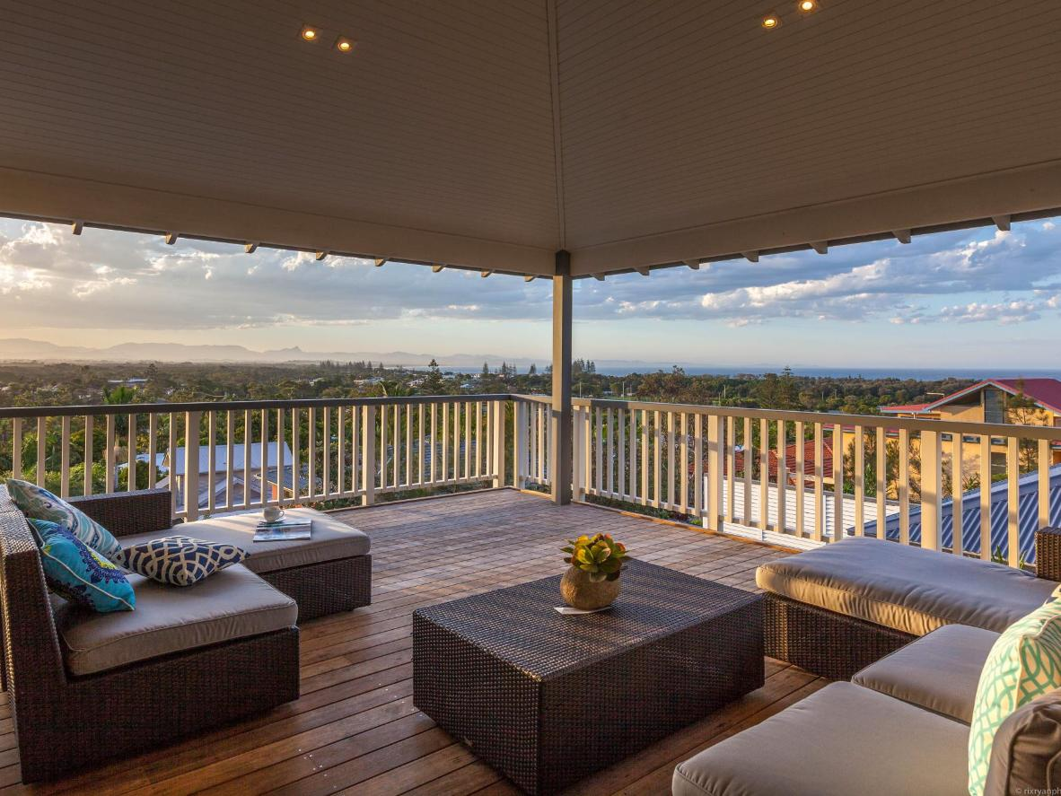 Watch the sunset in Byron Bay, with 360-degree views of volcanic hinterland, rainforest and ocean