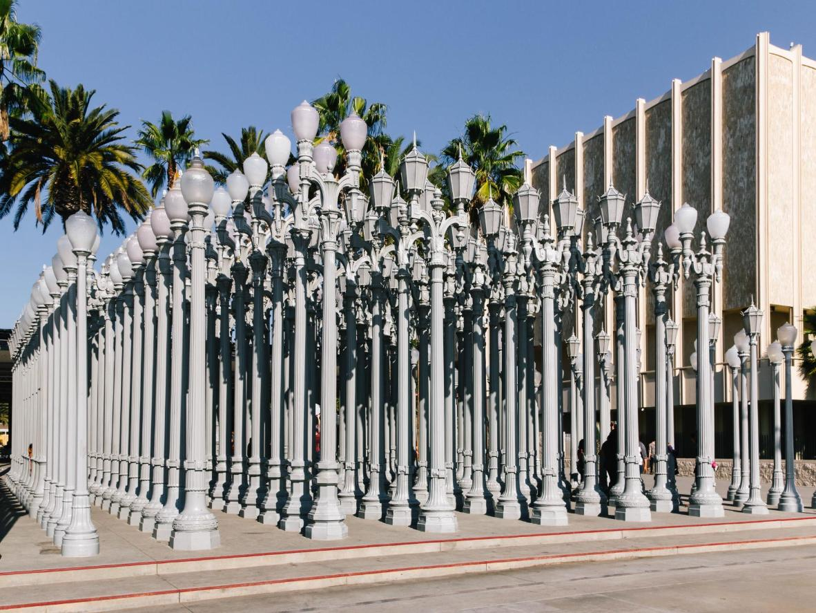 Check out the Urban Light sculpture at the Los Angeles County Museum of Art