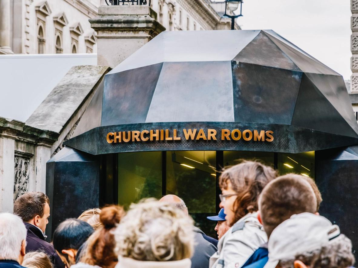 Tourists queue to get into the fascinating underground complex, the Churchill War Rooms