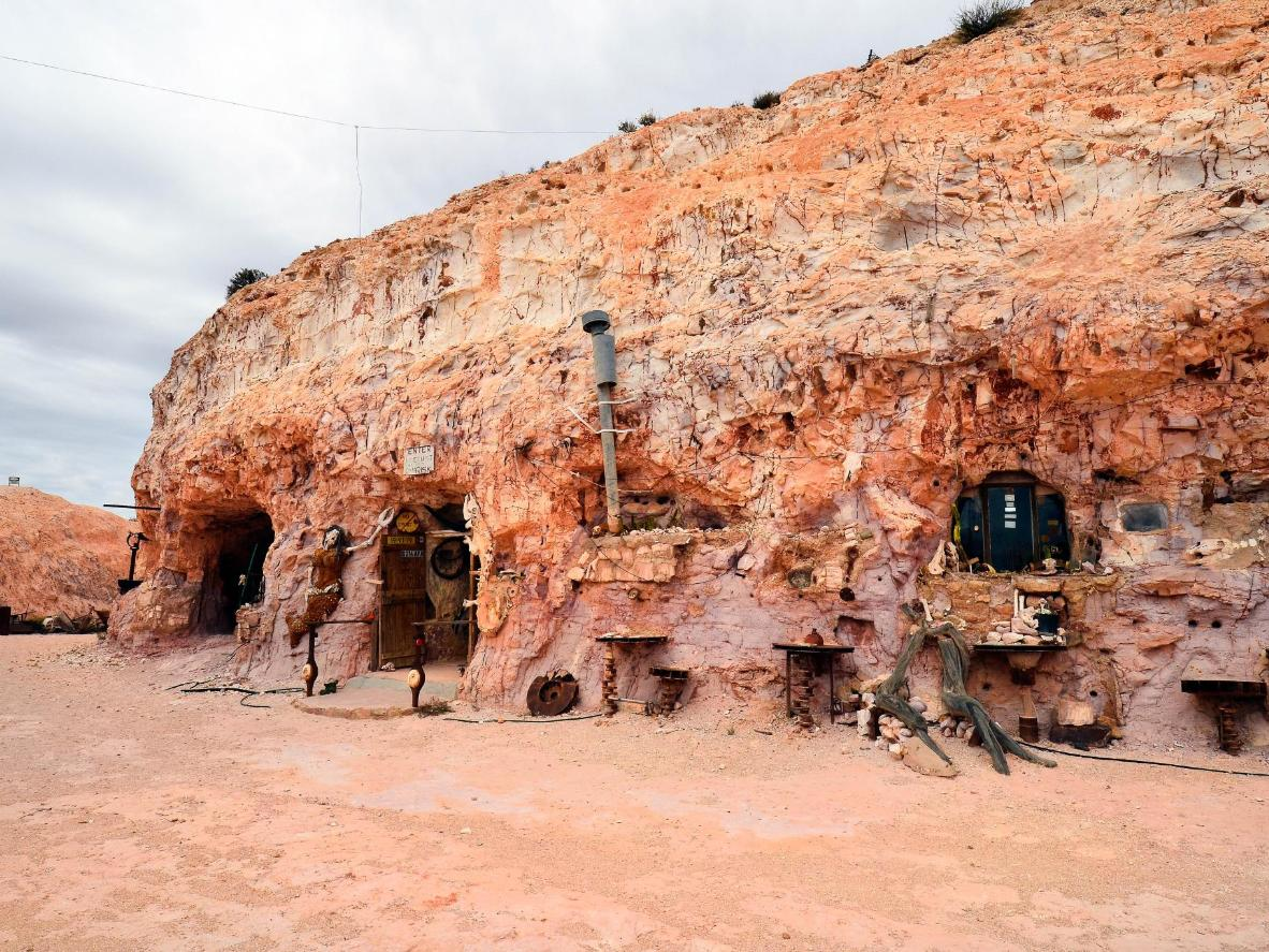 The former home of local character, Crocodile Harry, built into the rocks in Coober Pedy