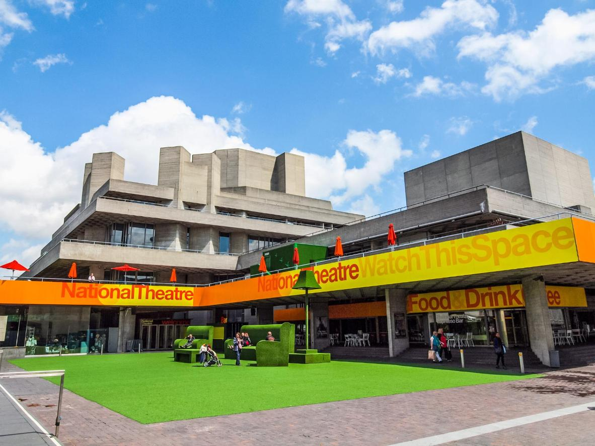 The brutalist, layered concrete architectural masterpiece that is the National Theatre, designed by architect Sir Denys Lasdun
