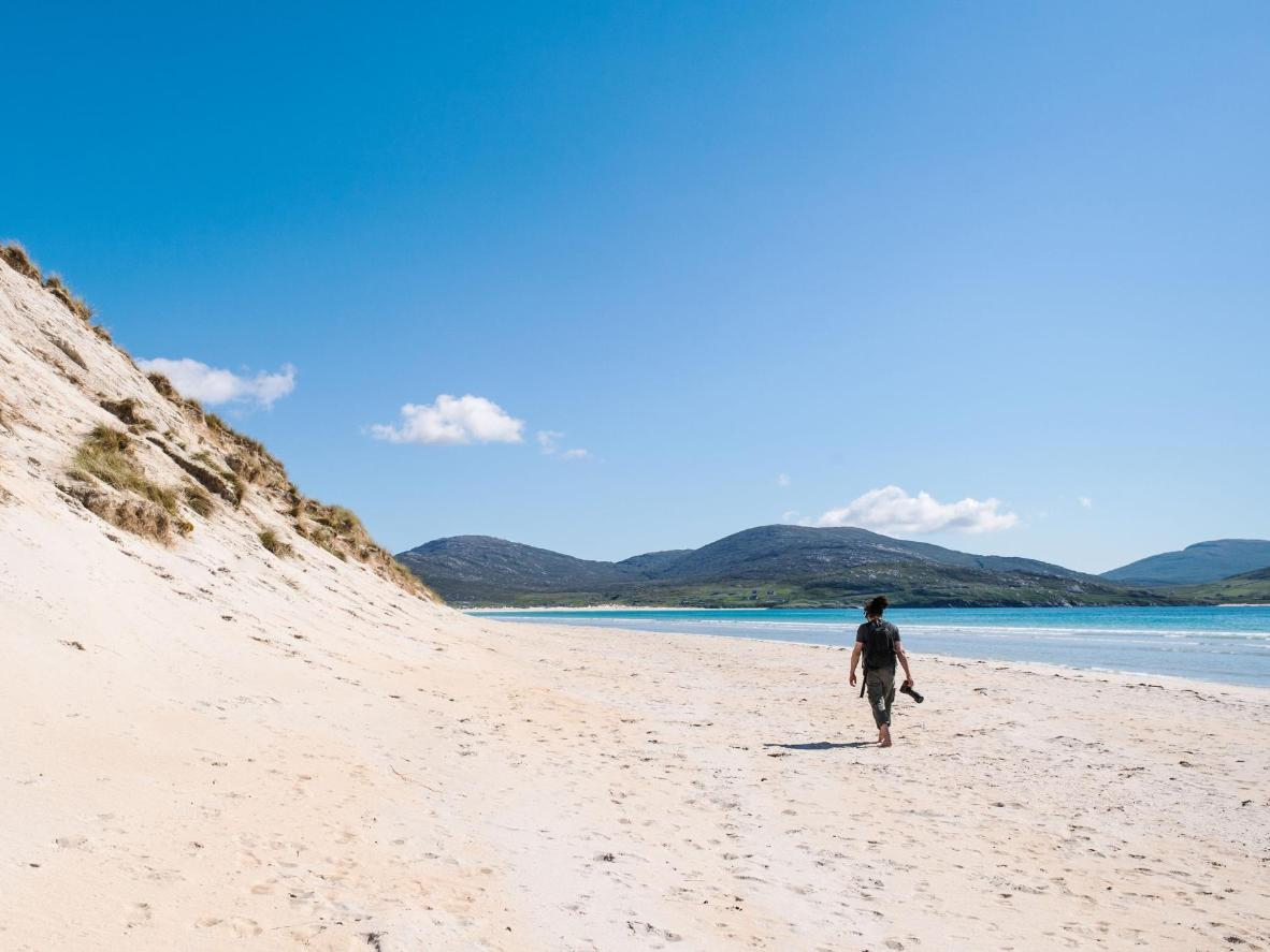 Although Luskentyre is a remote beach in the Outer Hebrides, it looks more like a Caribbean destination