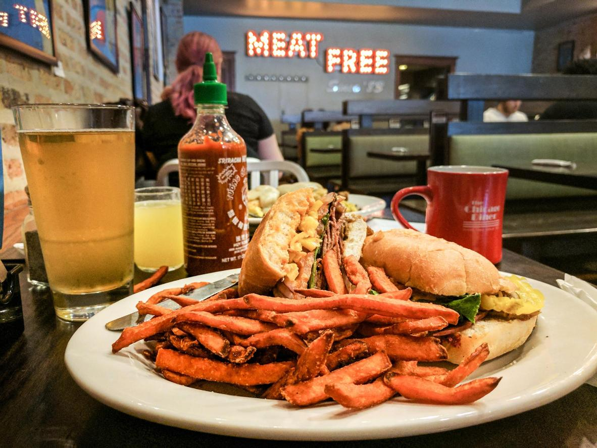 The Chicago Diner's veggie burger and sweet potato fries
