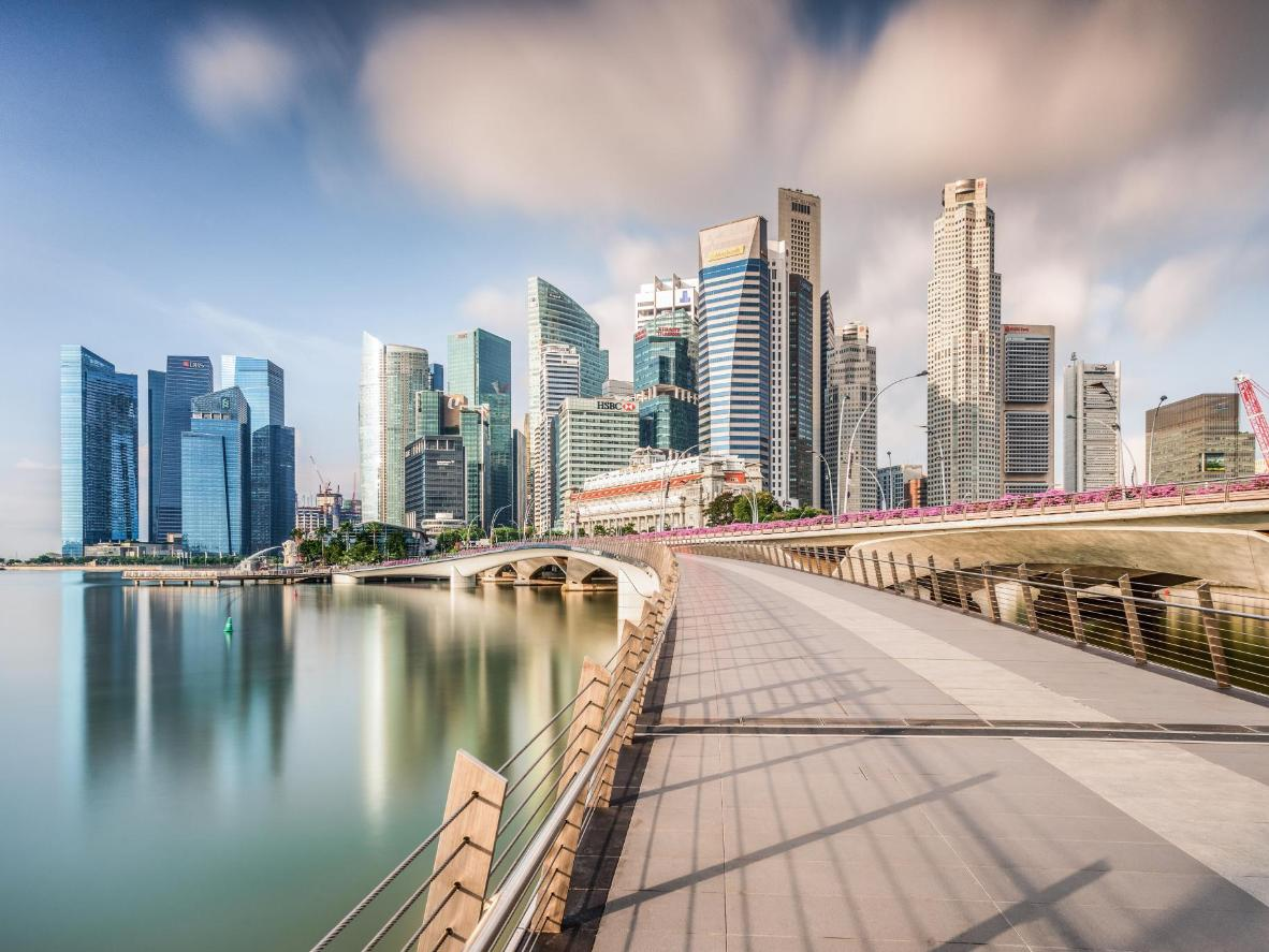 Walk along Marina Bay and enjoy the spotless promenades