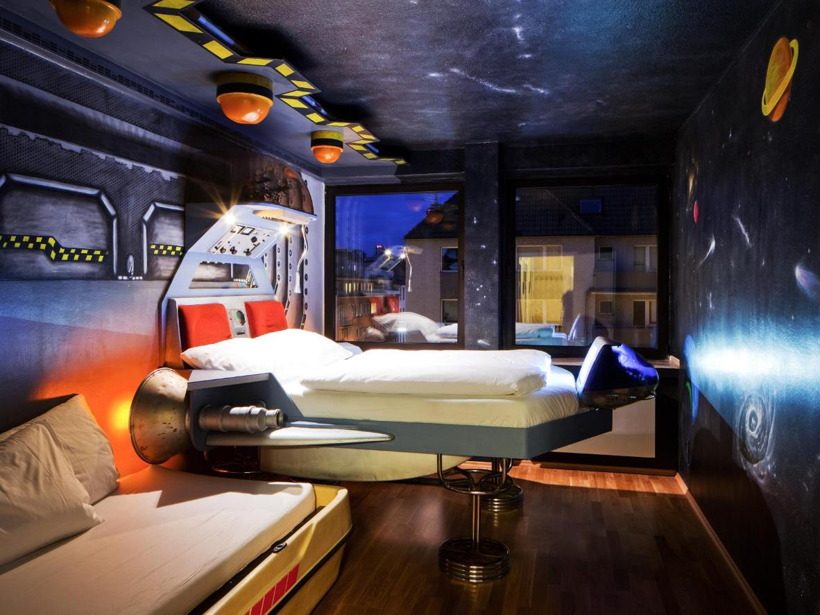 A bed with rocket boosters is enough to bring out anyone's inner child