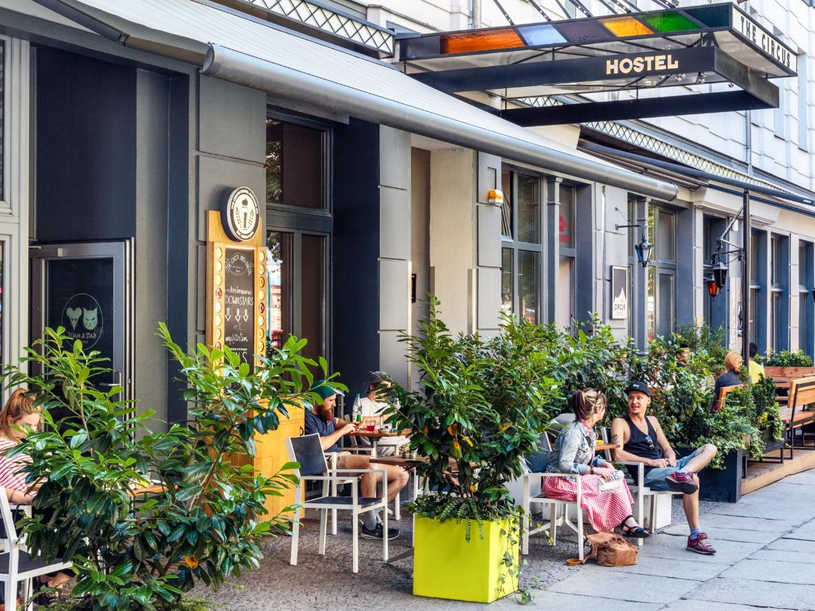 The Circus Hostel's terrace is a prime spot for people watching