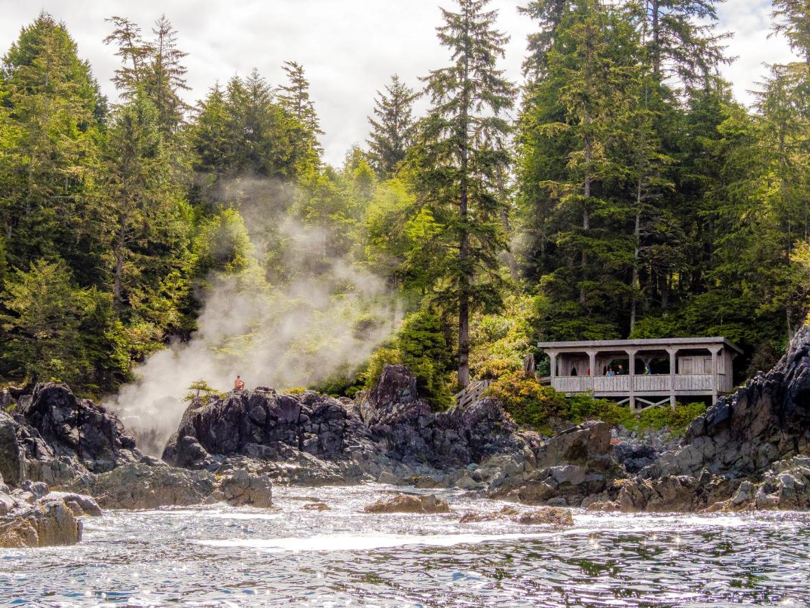 These hot springs are in an ancient forest only accessible by boat