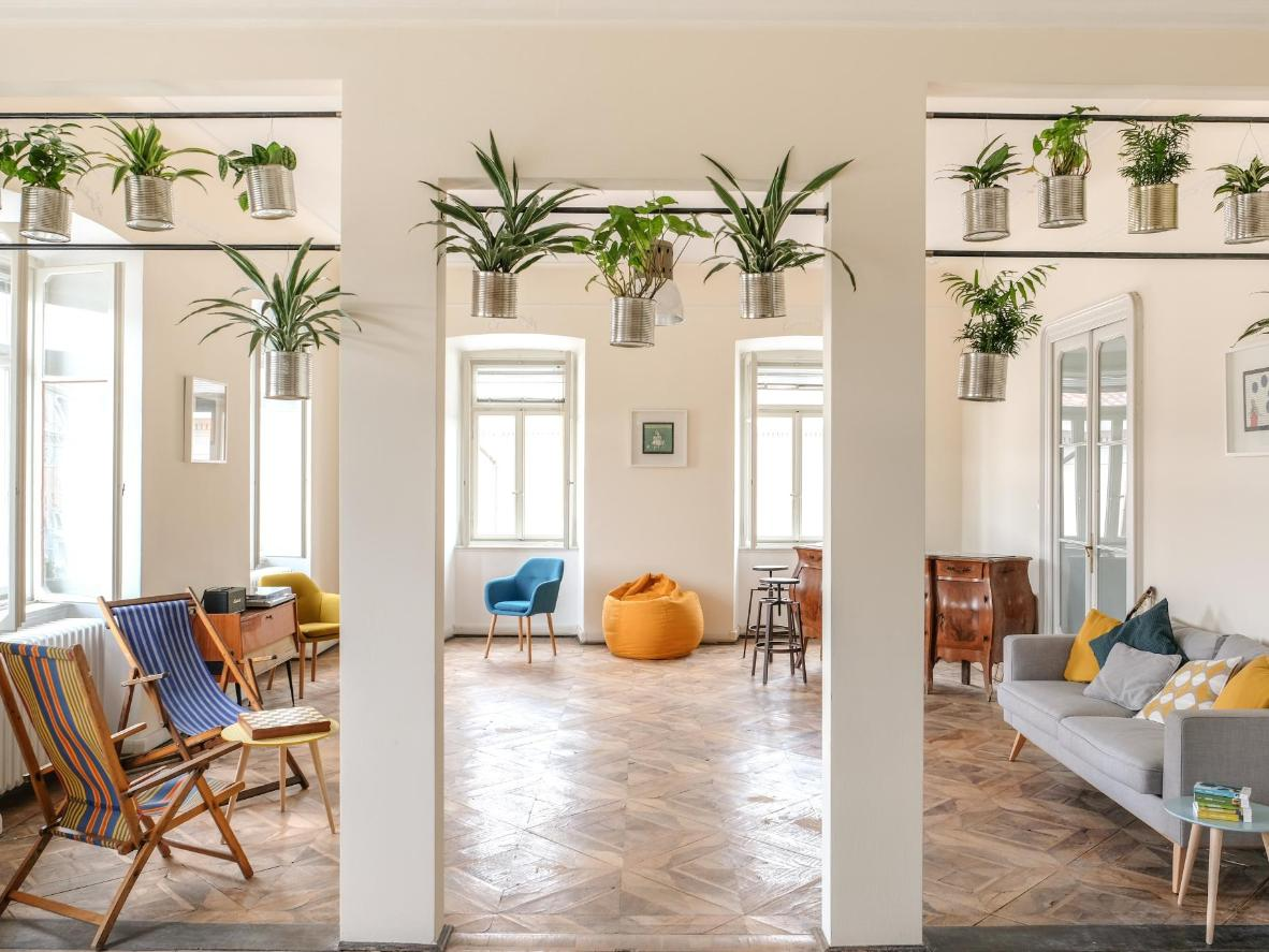 The guest lounge at ControVento features vintage furniture and rich greenery