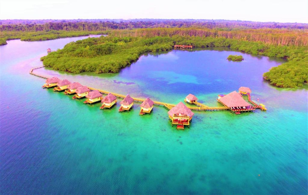 A bird's-eye view of Punta Caracol Acqua Lodge