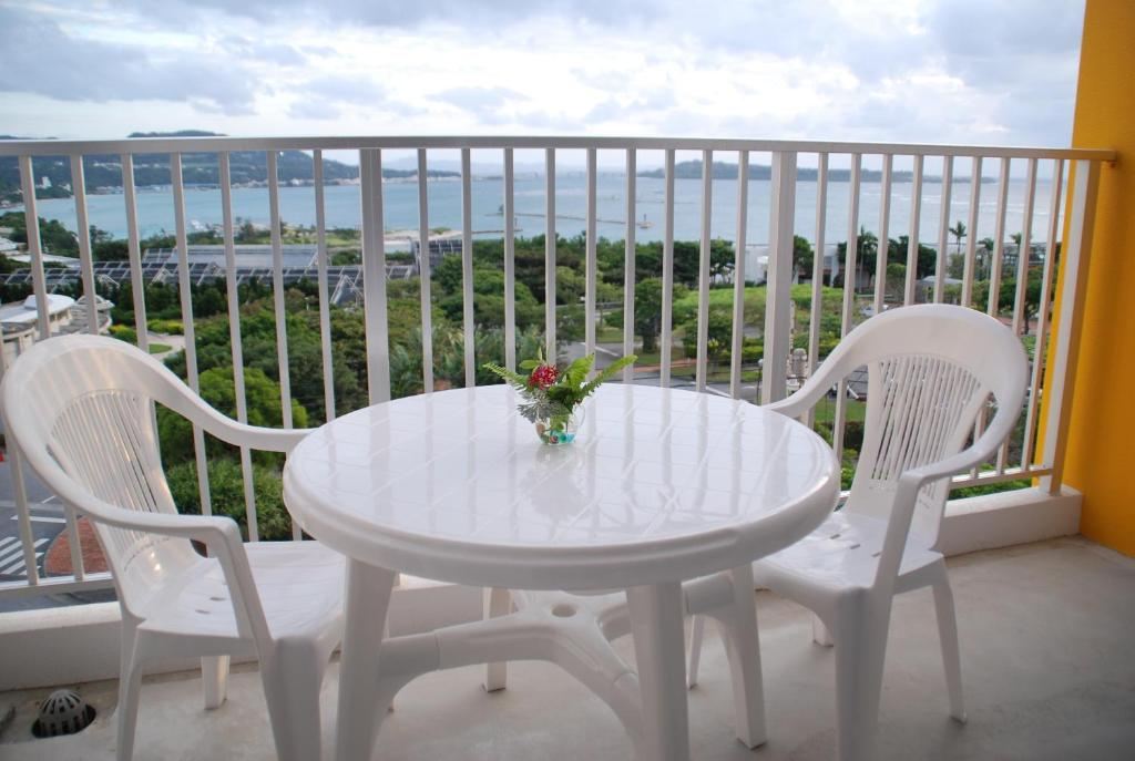 A balcony or terrace at YukurinaResort Okinawa Lemon House