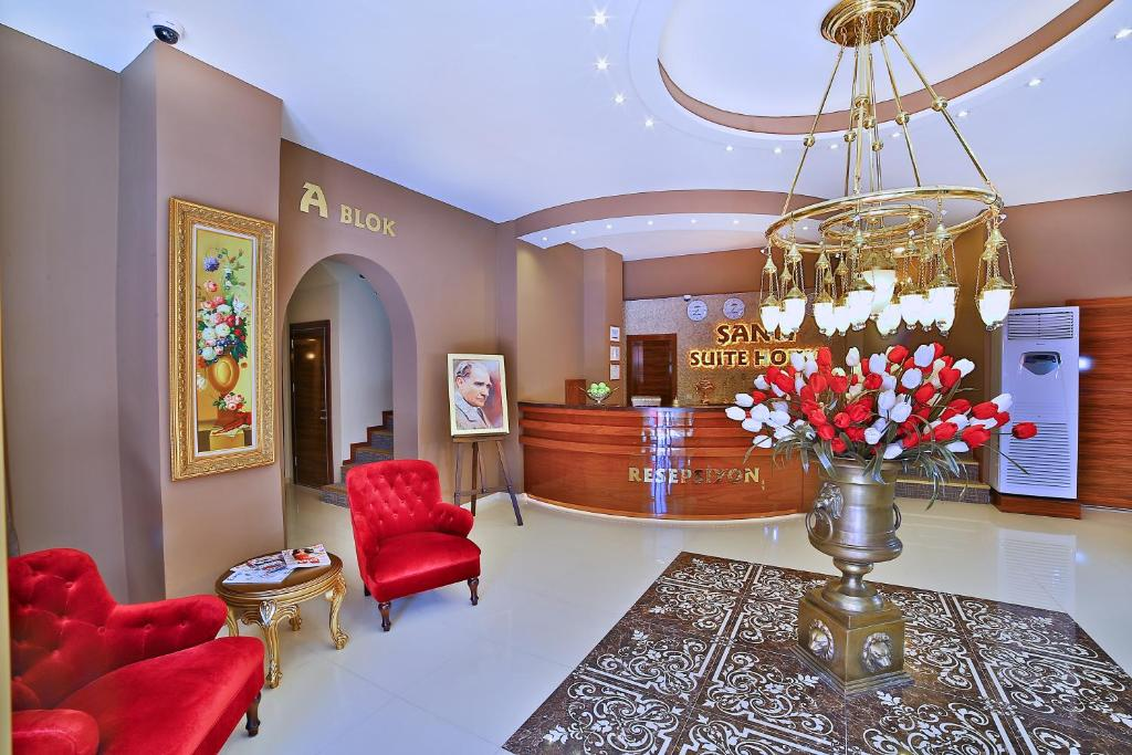 The lobby or reception area at Sanli Suite Hotel