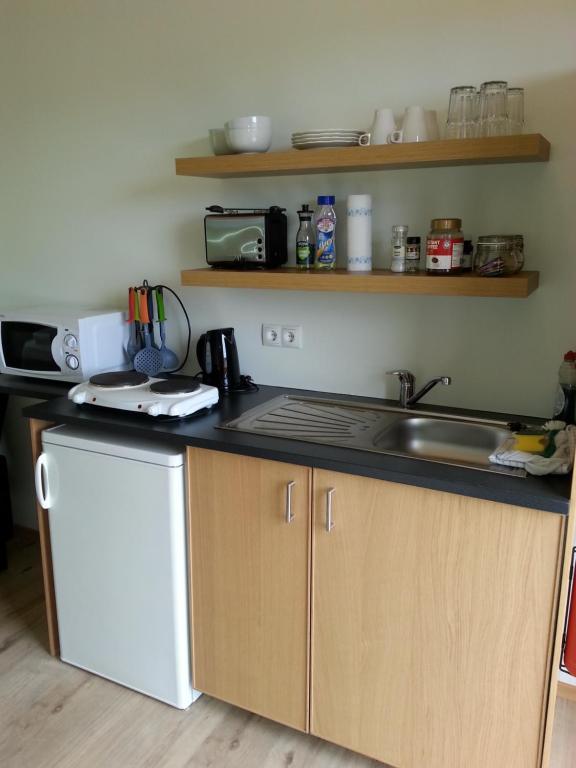 Køkken eller tekøkken på Guesthouse Hvítafell