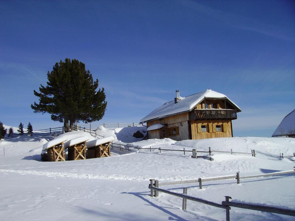 Almhaus Weißmann during the winter