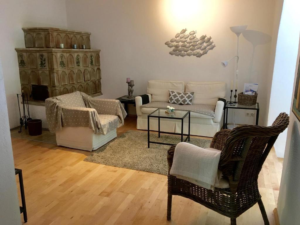 Ein Sitzbereich in der Unterkunft Apartment im Nonntal