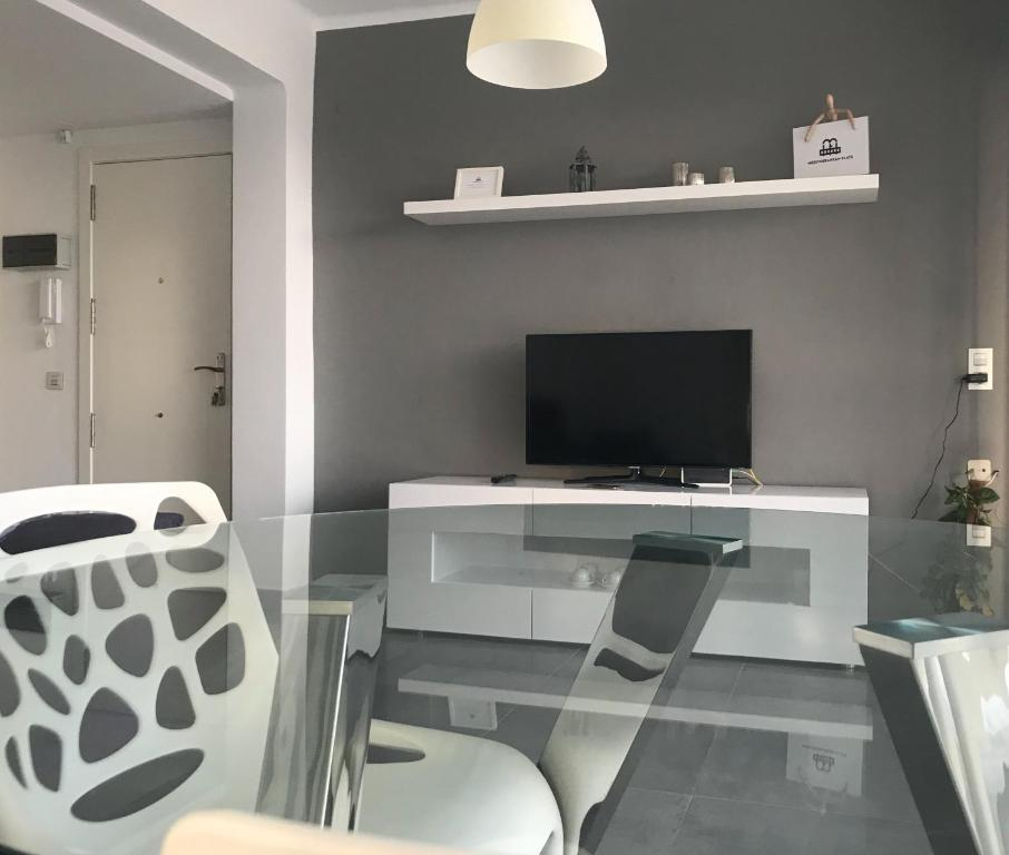 A television and/or entertainment center at Mediterranean flats