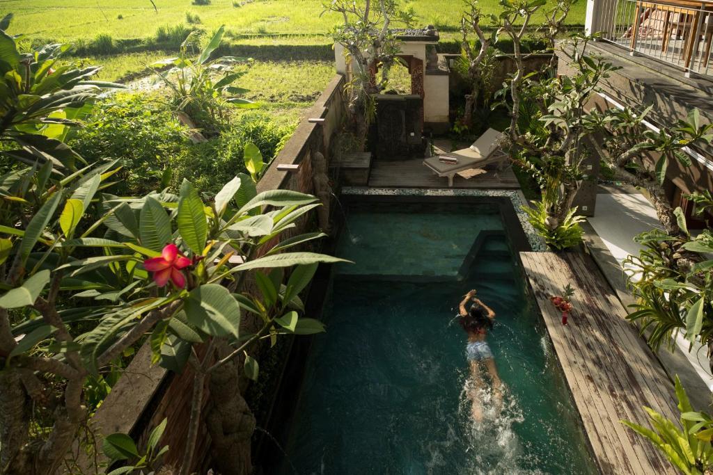 Pemandangan kolam renang di Puri Galih Villa atau di dekatnya
