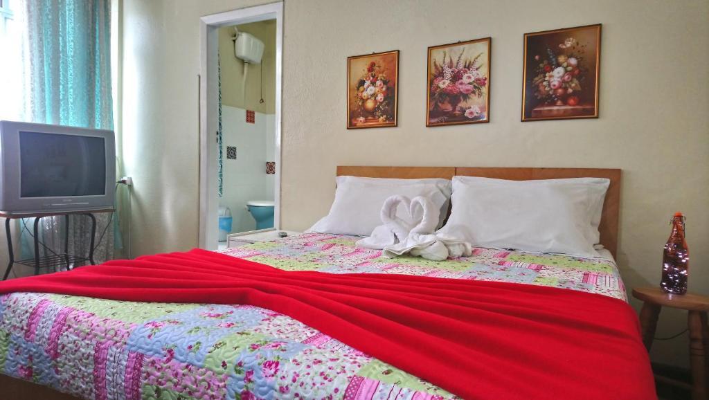 Cama ou camas em um quarto em Hotel Alê