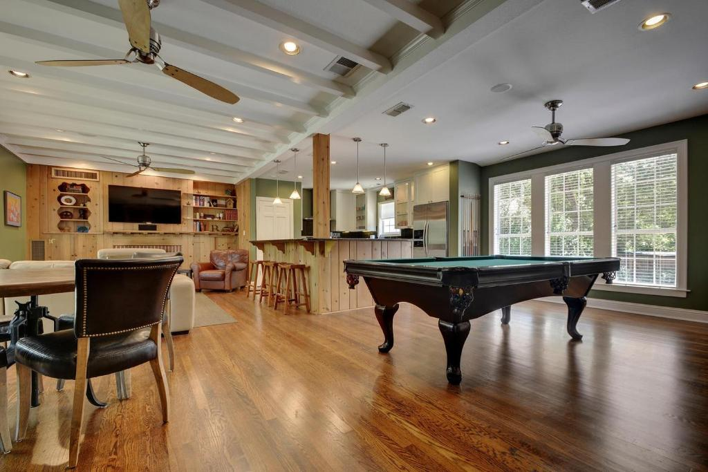 A pool table at LBJ Estate near Lake Austin