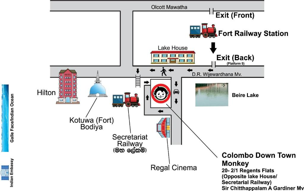 The floor plan of Colombo Downtown Monkey Backpackers Hostel