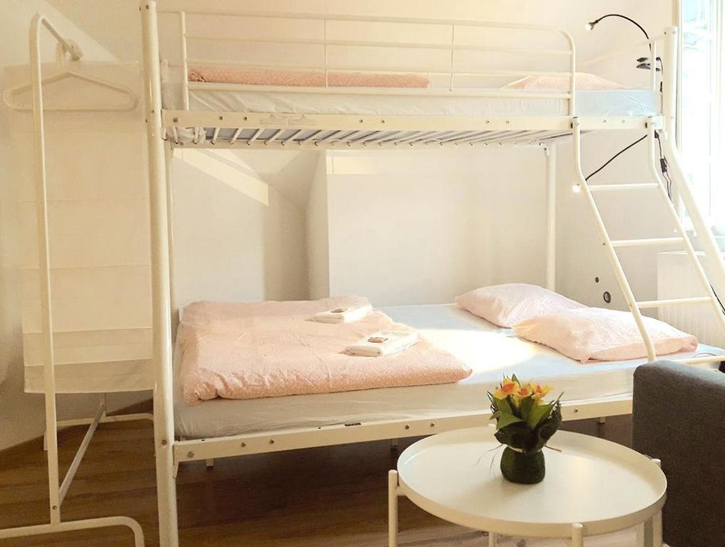 Ein Etagenbett oder Etagenbetten in einem Zimmer der Unterkunft Sishaus - View at Mozarts