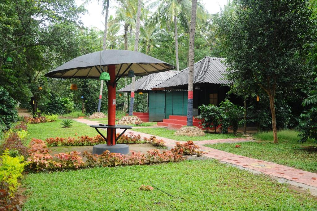 A garden outside Trippers Stay-Coorg