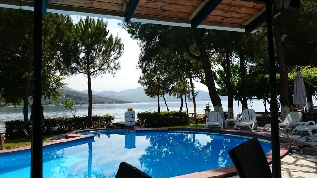The swimming pool at or near Villa Flisvos