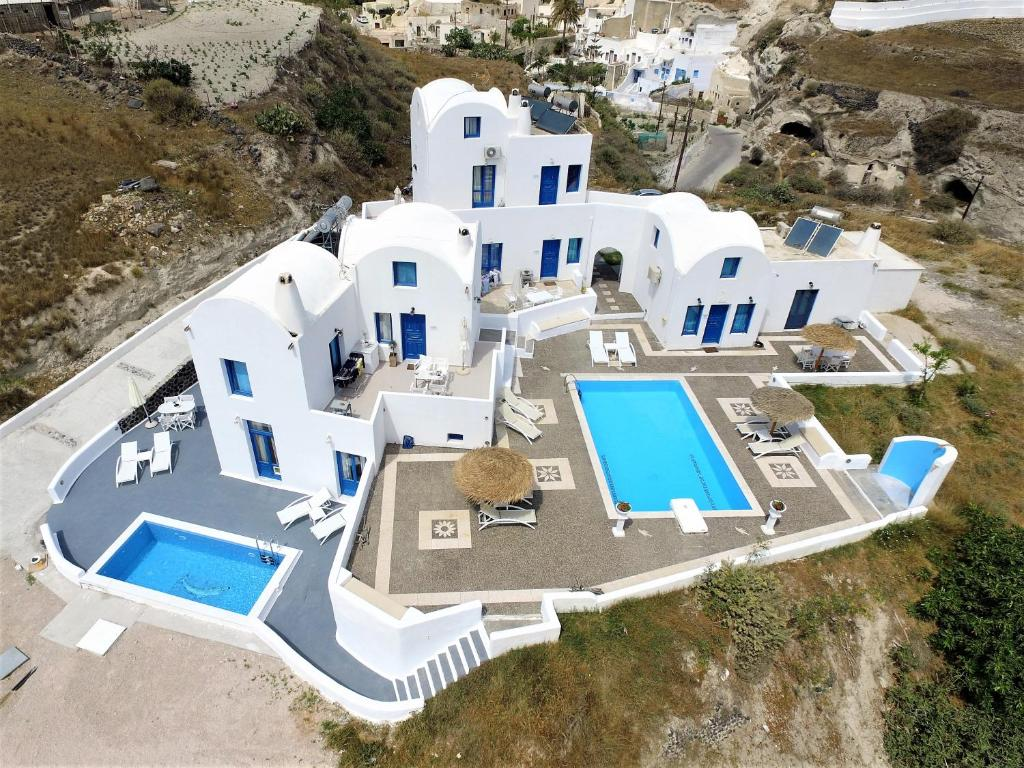 A bird's-eye view of Santorini Traditional Suites