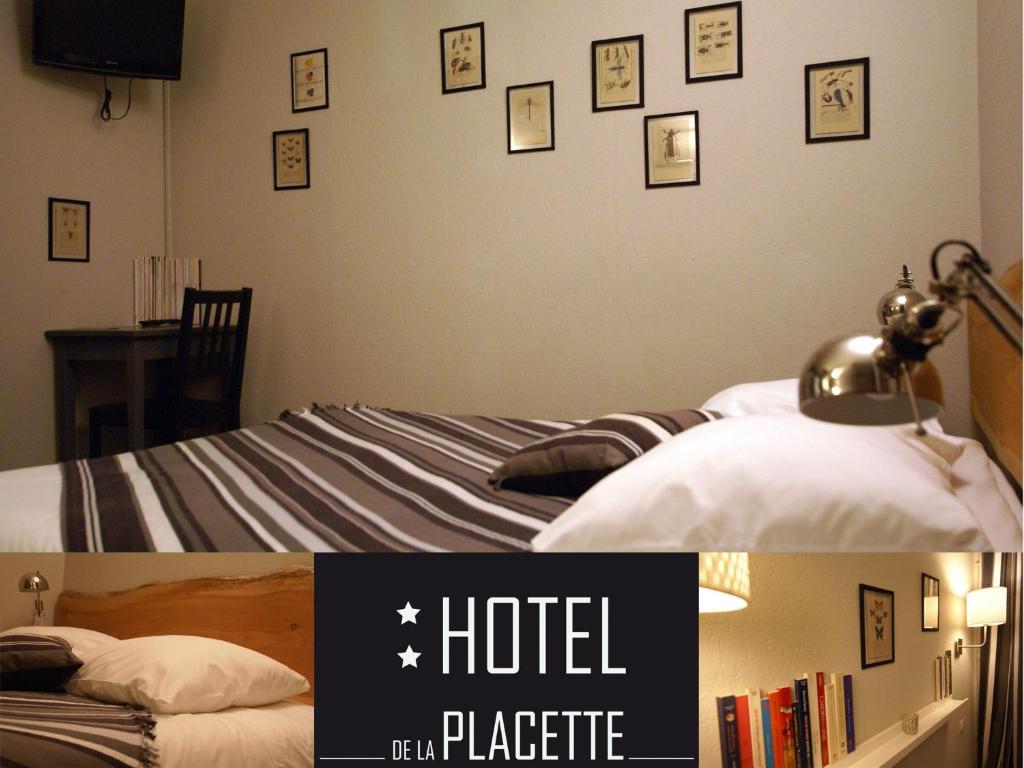 Ένα ή περισσότερα κρεβάτια σε δωμάτιο στο Hotel de la Placette Barcelonnette