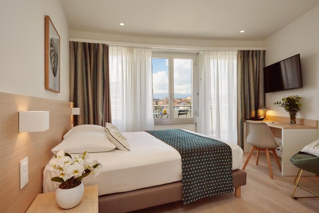 ホテル スイスにあるベッド