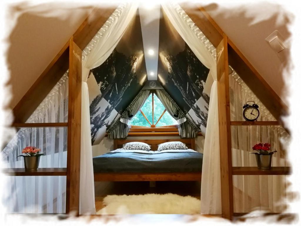 Łóżko lub łóżka w pokoju w obiekcie Tatra View