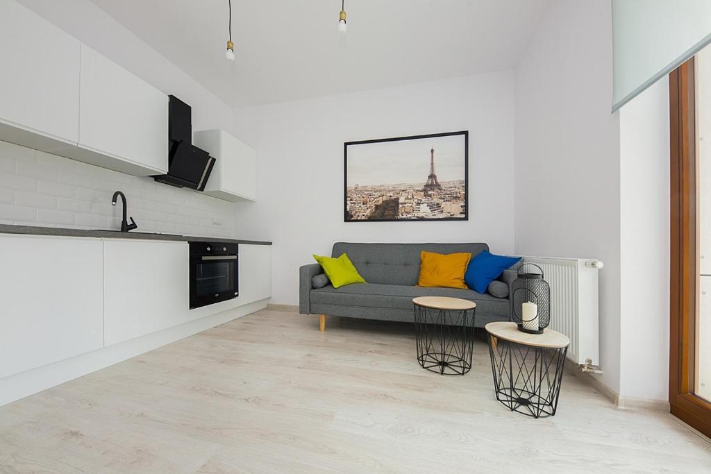 Area soggiorno di Cybernetyki Apartments