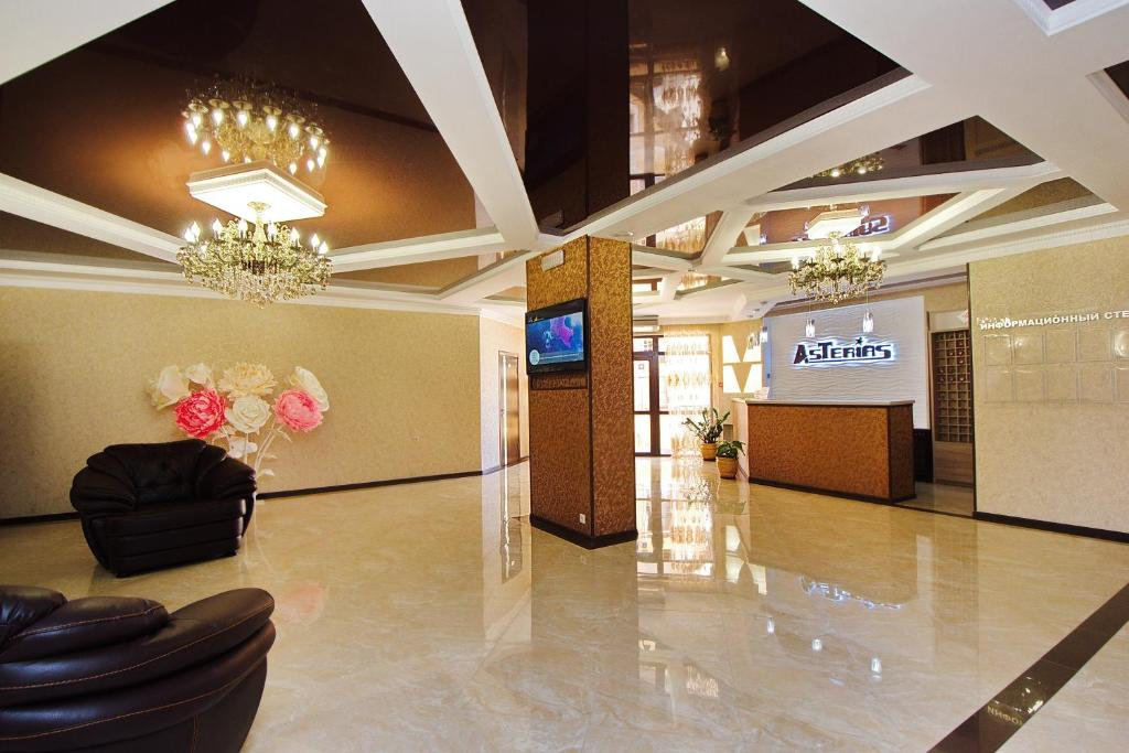 The lobby or reception area at AsTerias Hotel