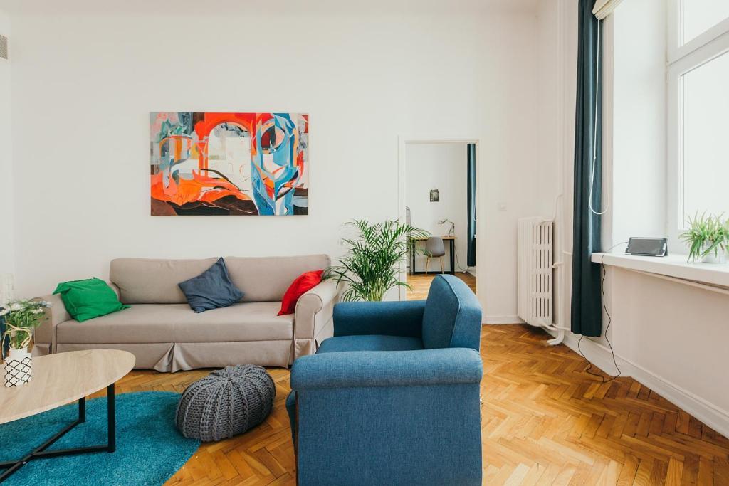 Svetainės erdvė apgyvendinimo įstaigoje oompH Warsaw Central Elegant Apartment