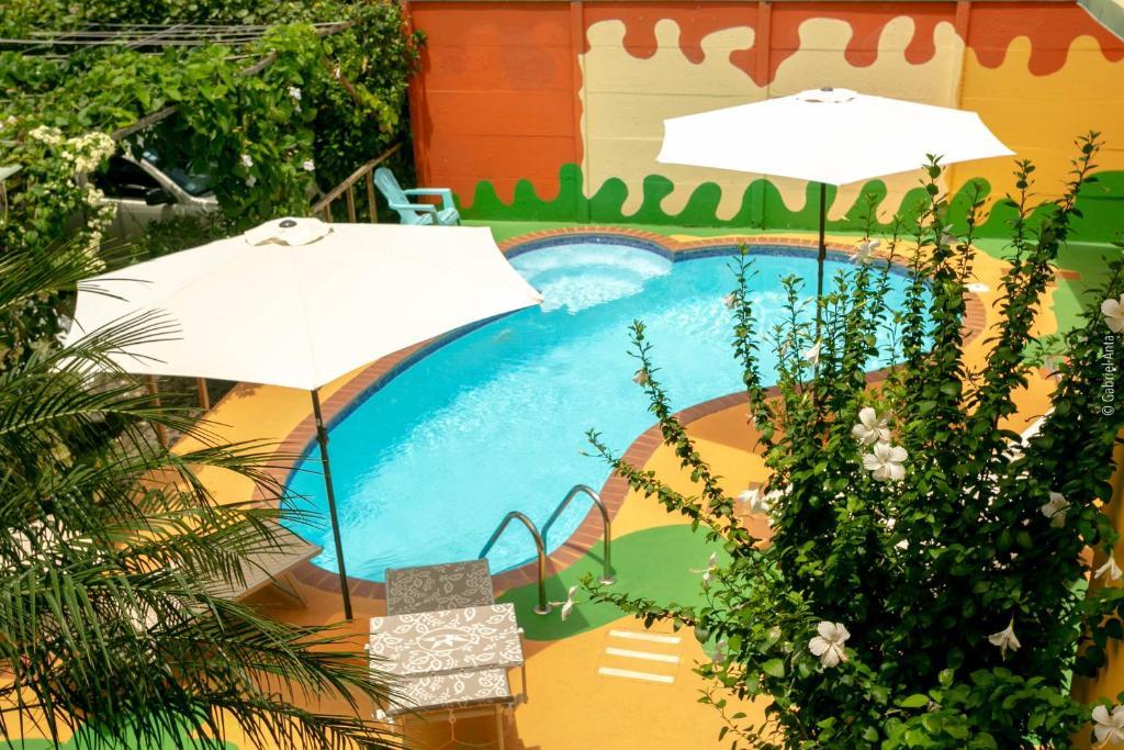 A view of the pool at Hotel Boutique La Casa de las Flores or nearby