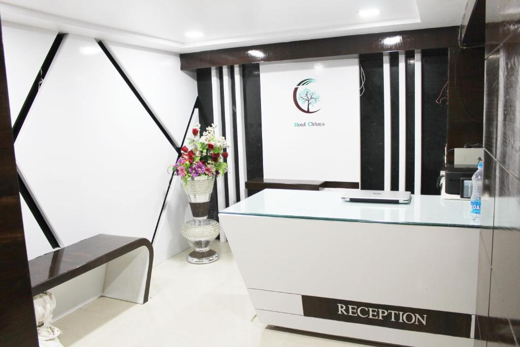 The lobby or reception area at Hotel Chhaya- Foreign Guest Only