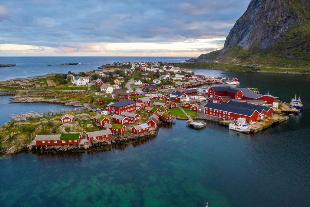 A bird's-eye view of Reine Rorbuer - by Classic Norway Hotels