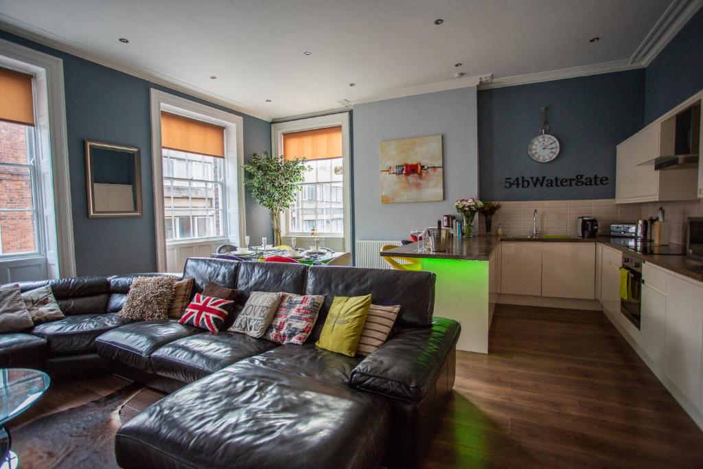 A seating area at Most central luxury apartment in Chester!