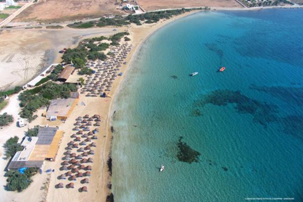 A bird's-eye view of Surfing Beach Village Paros