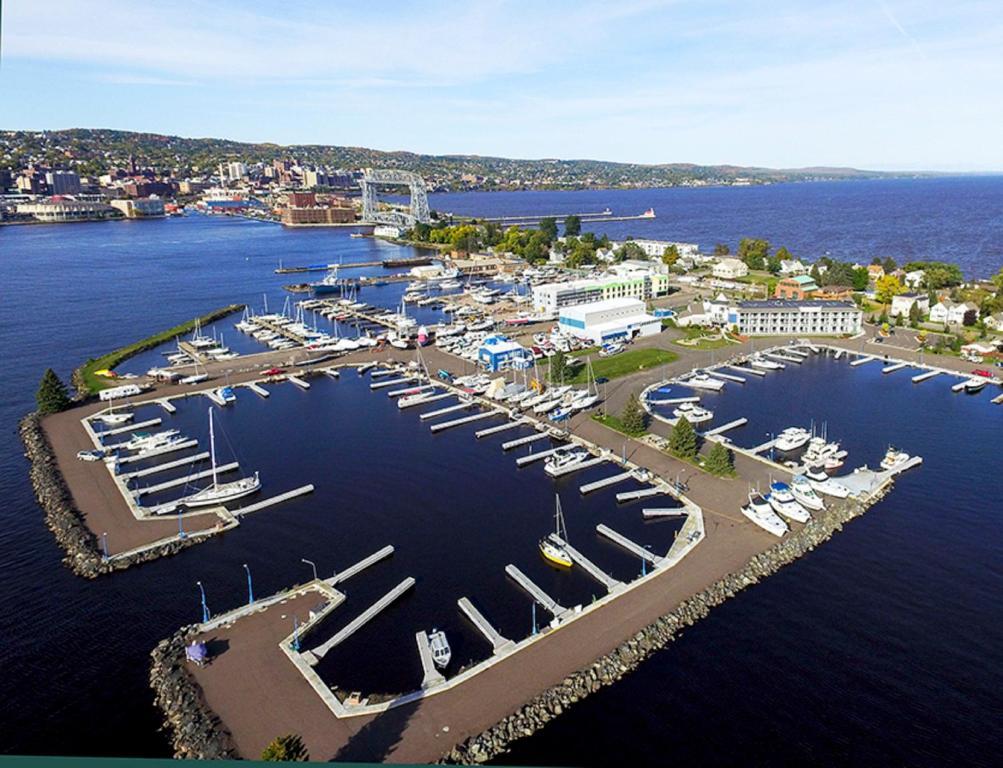 A bird's-eye view of Park Point Marina Inn